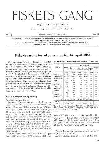 Fiskets Gang, nr 16, 1960 - Havforskningsinstituttet