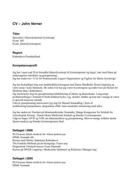 Se John Verners CV - Danske Fysioterapeuter