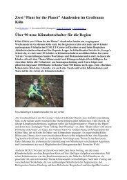 """Zwei """"Plant for the Planet"""" Akademien im Großraum Köln Über 90 ..."""