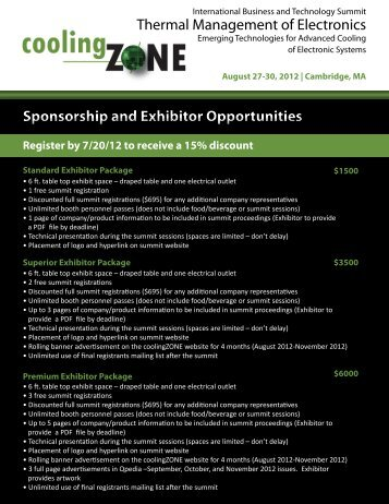 Sponsorship and Exhibitor Opportunities Thermal ... - coolingzone.com