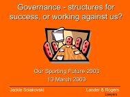 Governance in Sport Best Practice Principles