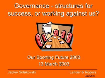 Governance in Sport Best Practice Principles