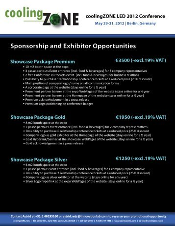 Sponsorship and Exhibitor Opportunities - coolingZONE