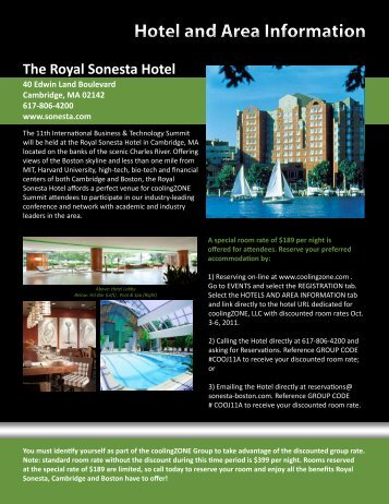 Hotel and Area Information - coolingZONE