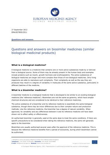 Questions and answers on biosimilar medicines - European ...
