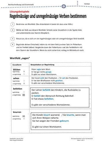 lsungsbeispiele wortfeld sagen - Wortfelder Beispiele