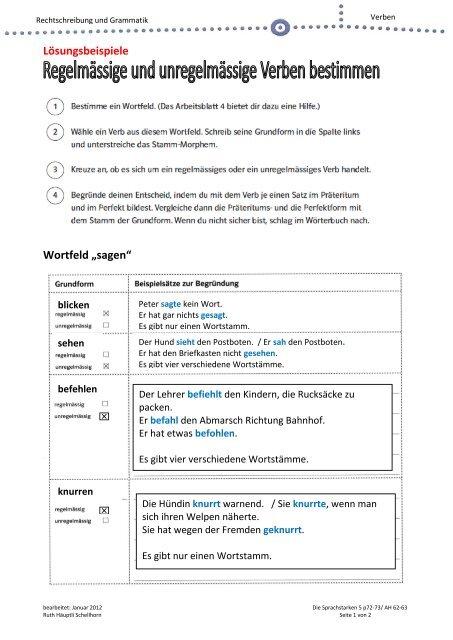 Lösungsbeispiele Wortfeld Sagen