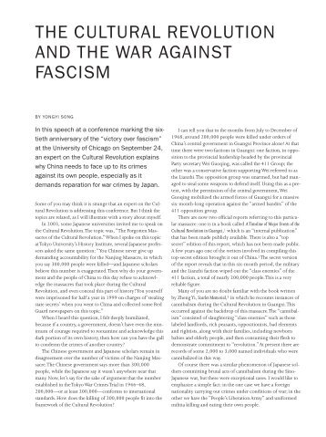 THE CULTURAL REVOLUTION AND THE WAR AGAINST FASCISM