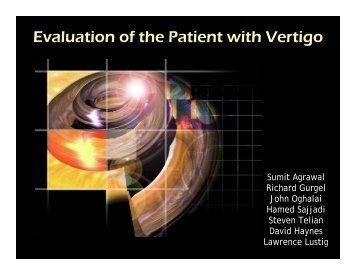Evaluation of the Patient with Vertigo - Stanford Hospital & Clinics