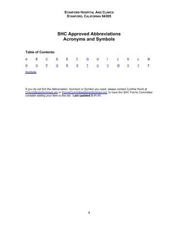 Shc Approved Abbreviations Acronyms And Symbols Stanford