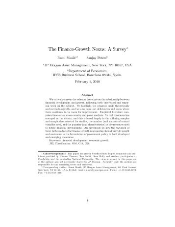 The Finance%Growth Nexus: A Survey! - IESE Business School