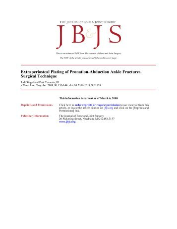 Extraperiosteal Plating of Pronation-Abduction Ankle Fractures