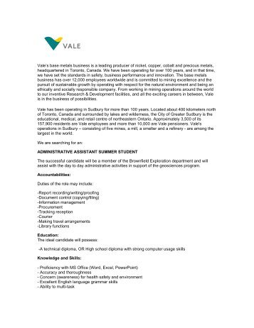 Vale's base metals business is a leading producer of nickel, copper ...