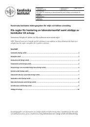 KIs regler för hantering av laboratorieavfall samt utsläpp - Karolinska ...