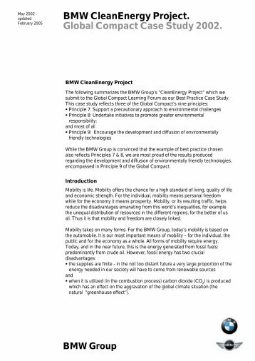 Global Compact Case Study 2002 - BMW Group