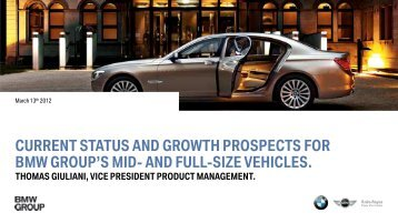 Presentation Thomas Giuliani (Update and prospects ... - BMW Group