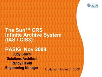 Using Sun Technologies in Repository and Preservation Archiving ...