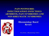 PAIN POTPOURRI: INFECTIOUS/POSTINFECTIOUS ARTHRITIS ...