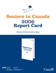 Seniors in Canada: Report Card 2006 - Intraspec