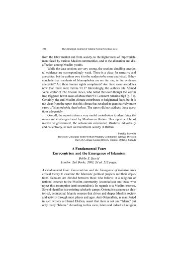 Eurocentrism and the Emergence of Islamism - I-Epistemology