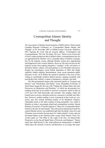 Cosmopolitan Islamic Identity and Thought - I-Epistemology