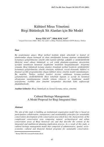 Birgi Bütünleşik Sit Alanları için Bir Model - Fen Bilimleri Enstitüsü