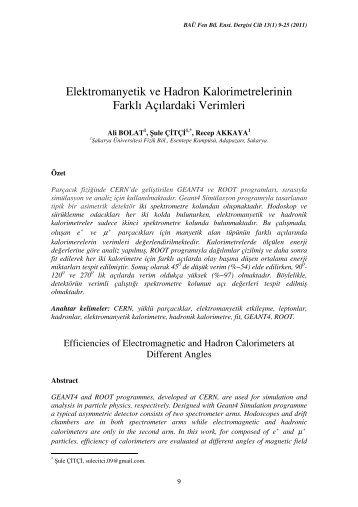 Elektromanyetik ve Hadron Kalorimetrelerinin Farklı Açılardaki ...