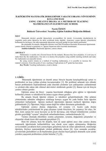 Sd - Fen Bilimleri Enstitüsü - Balıkesir Üniversitesi