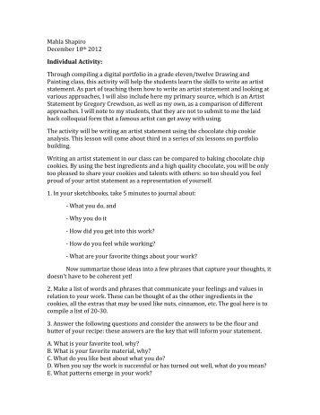 Mahla Shapiro December 10th 2012 Individual Activity: Through ...