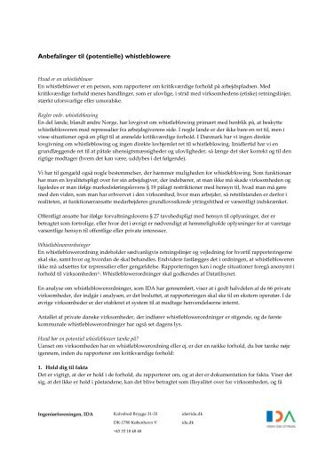 Anbefalinger til (potentielle) whistleblowere - Ida
