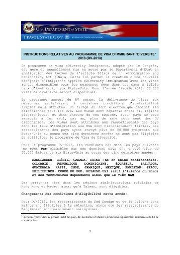 1 INSTRUCTIONS RELATIVES AU PROGRAMME DE VISA D ...