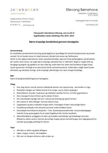 J e l l e b a k k e n Ellevang Børnehave - Dagtilbud-Aarhus