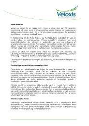 Veloxis Risk Management DK