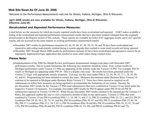Web Site News As Of June 20, 2008 - AT&T Clec Online