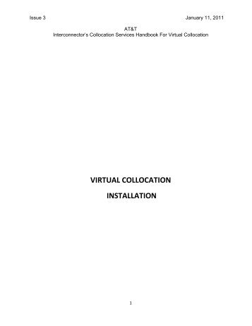 VIRTUAL COLLOCATION INSTALLATION - AT&T Clec Online