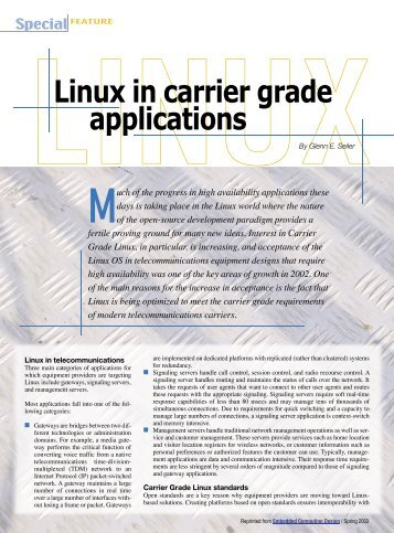 Linux in carrier grade appliactions - Embedded Computing Design