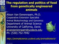 The regulation and politics of food from genetically engineered ...