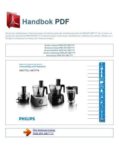 Bruker manual PHILIPS HR7775 - HANDBOK PDF