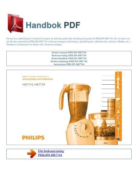 Bruker manual PHILIPS HR7744 - HANDBOK PDF