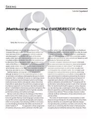 Matthew Barney: The CREMASTER Cycle - Colette Copeland