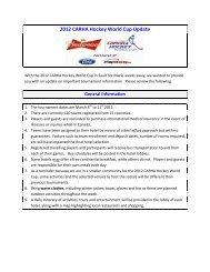 2012 CARHA Hockey World Cup Update