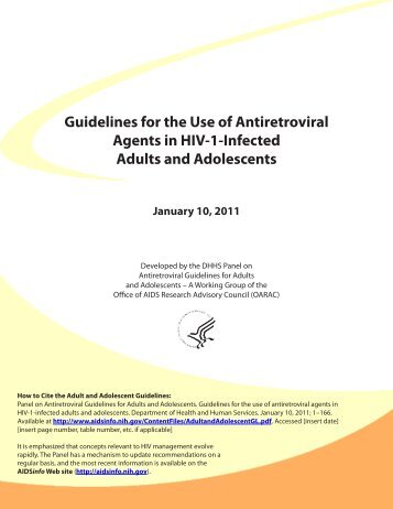 Guidelines for the Use of Antiretroviral Agents in ... - Antimicrobe.org