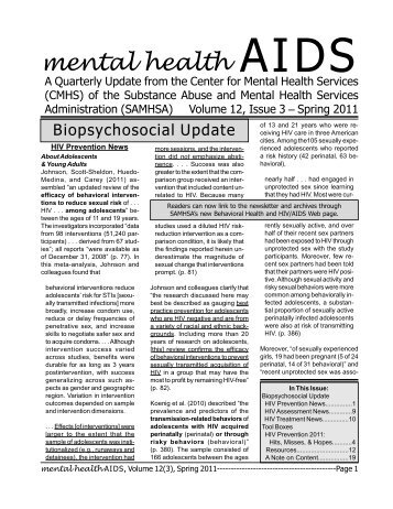 Mental Health Aids. Spring 2011. - Substance Abuse and Mental ...