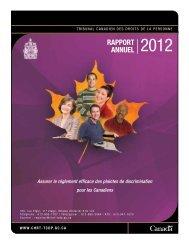 RappoRt annuel 2012 - Tribunal canadien des droits de la personne