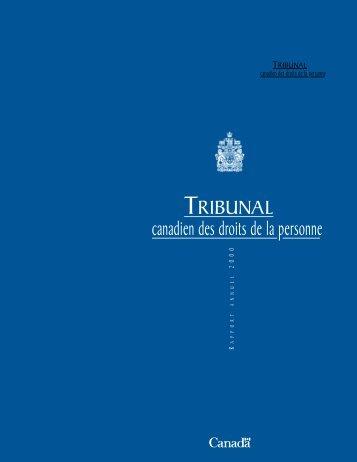 Tribunal canadien des droits de la personne, rapport annuel 2000 ...