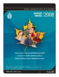 RappoRt annuel 2008 - Tribunal canadien des droits de la personne