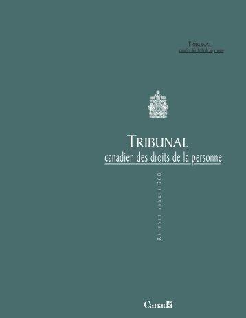 Rapport Annuel 2001 - Tribunal canadien des droits de la personne