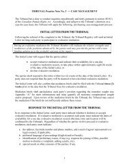 INITIAL LETTER FROM THE TRIBUNAL RESPONSE TO THE ...