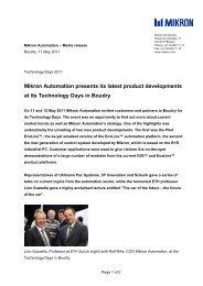 Media release english PDF (60 KB) - Mikron
