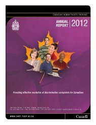 AnnuAl RepoRt 2012 - Tribunal canadien des droits de la personne